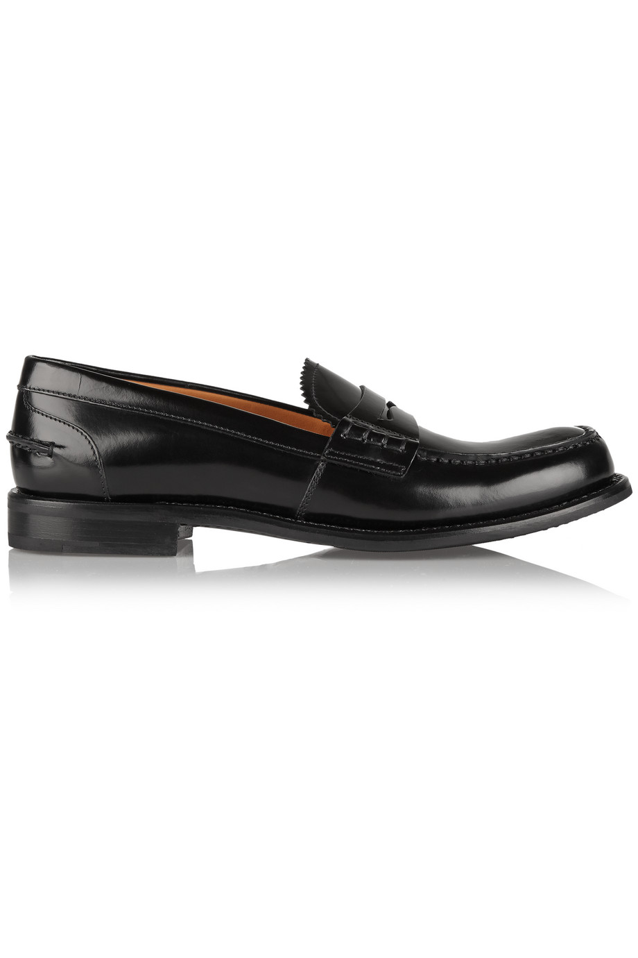 Church's Sally Glossed-Leather Loafers, Black, Women's US Size: 7.5, Size: 38