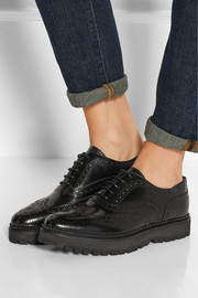 Indigo glossed-leather platform brogues