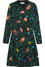 Shadow Flower appliquéd intarsia wool-blend dress
