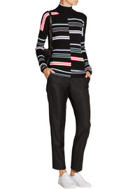 Striped ribbed wool turtleneck sweater