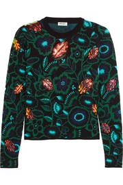 Shadow Flower appliquéd intarsia wool-blend sweater