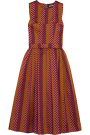 Pleated chevron jacquard dress