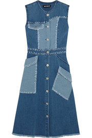 Patchwork stretch-denim dress