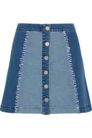 Patchwork stretch-denim mini skirt