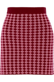 Diamond-intarsia stretch wool-blend mini skirt