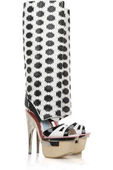 Versace|Leather cutout platform boots|NET-A-PORTER.COM from net-a-porter.com