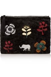 Embroidered shearling clutch