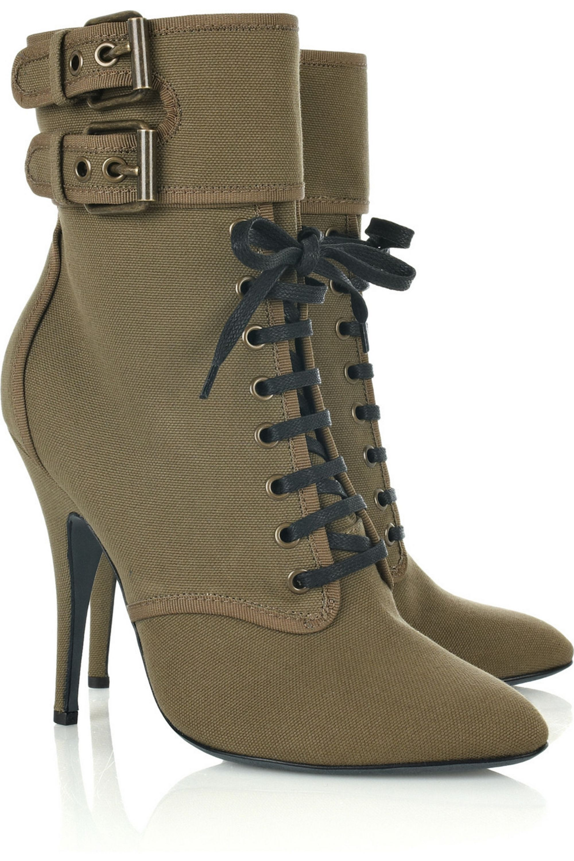 Sage green Lace-up canvas ankle boots
