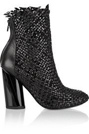 Proenza Schouler Woven matte and patent-leather ankle boots
