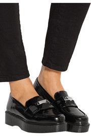 Peyru embellished glossed-leather platform loafers