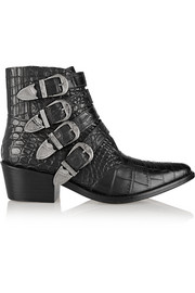 Pulla croc-effect leather ankle boots