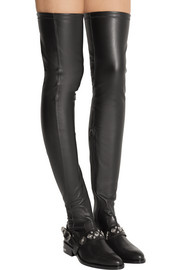 Embellished stretch-leather thigh boots