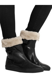 Sherpa faux shearling-lined leather ankle boots
