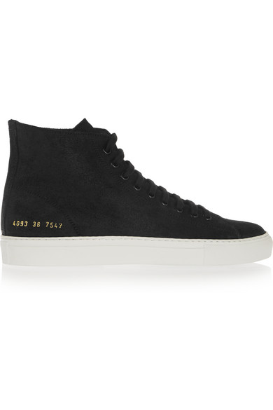 03d78d4a941d Common Projects. Tournament waxed-suede high-top sneakers