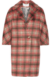 Checked knitted coat