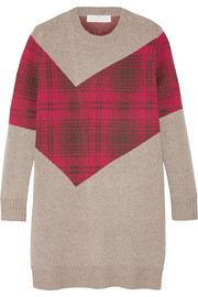 Addition tartan-paneled knitted sweater