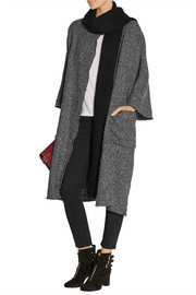 Addition tweed cape and knitted scarf set