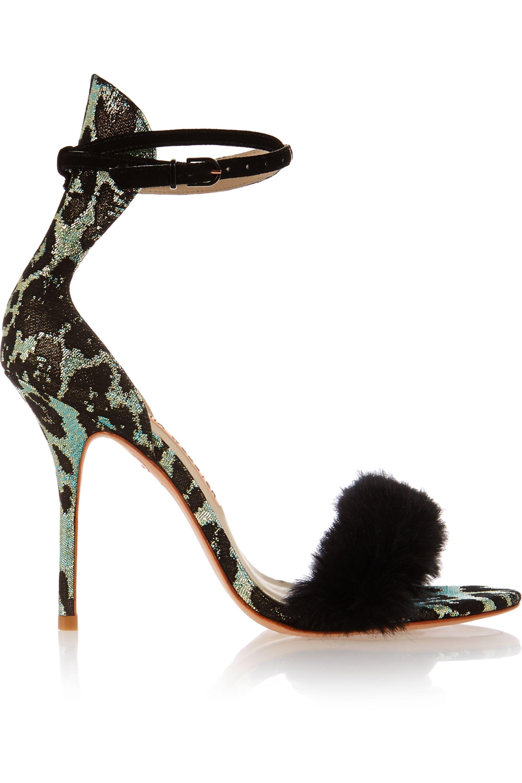 Sophia Webster Nicole faux fur-trimmed leopard jacquard sandals