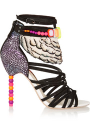 Alessandra embellished satin, suede and feather sandals