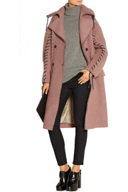 Evia whipstitched wool-blend coat