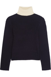 Bryn two-tone ribbed wool turtleneck sweater