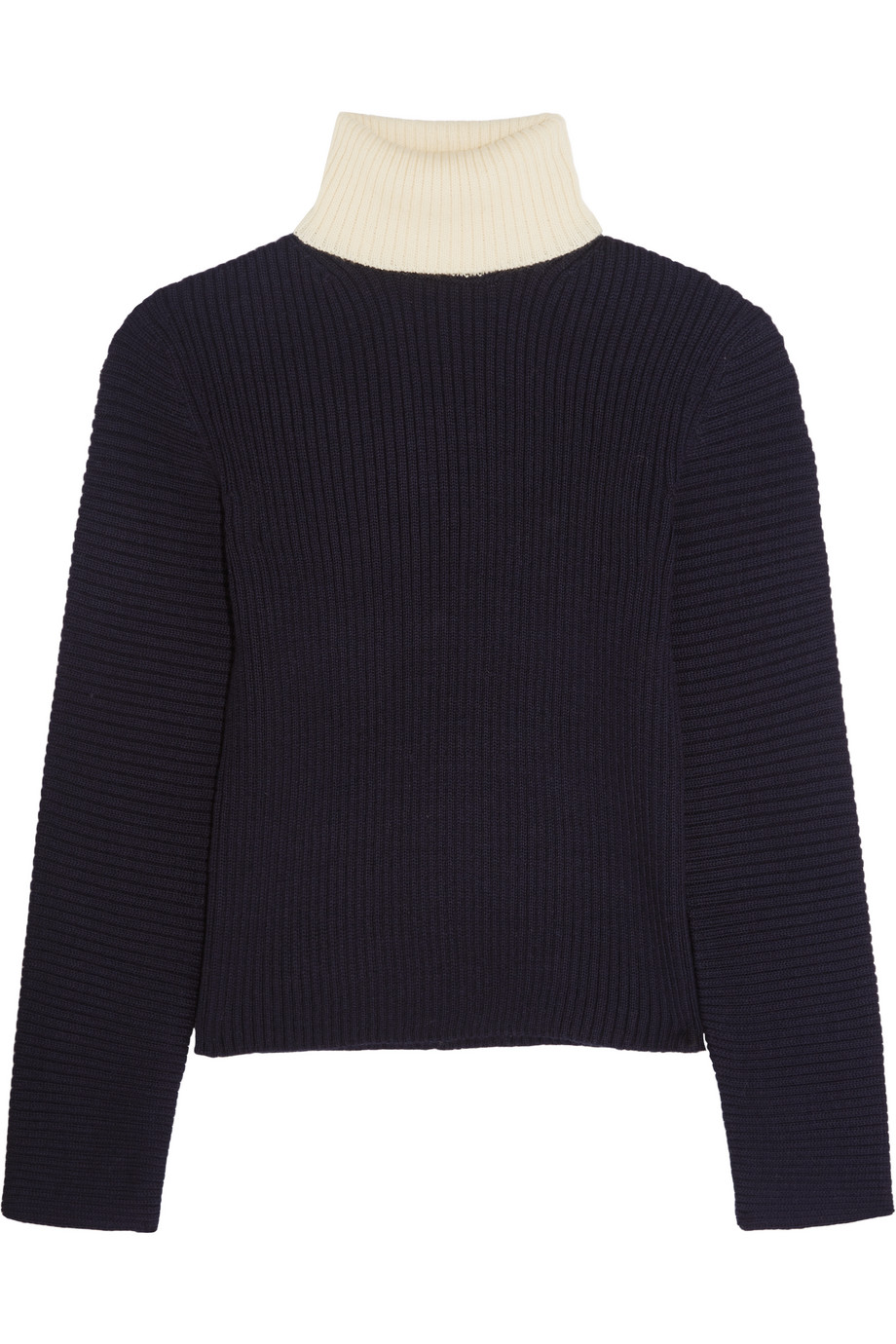 Acne Studios Bryn Two-Tone Ribbed Wool Turtleneck Sweater, Midnight Blue, Women's, Size: L