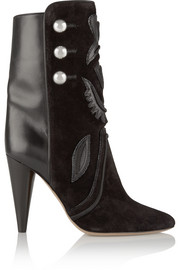 Liv suede and leather ankle boots