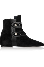 Roddy leather-trimmed suede ankle boots