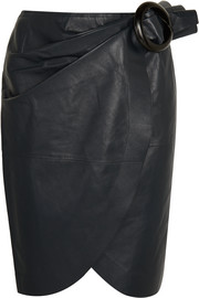 Buckled leather wrap skirt