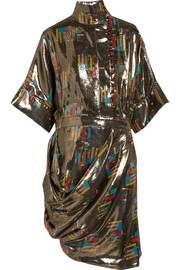 Printed silk and Lurex-blend lamé dress