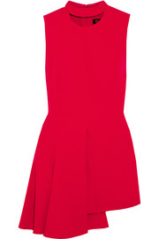 Asymmetric stretch-crepe mini dress