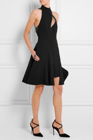780a1a6c Leather-trimmed crepe mini dress