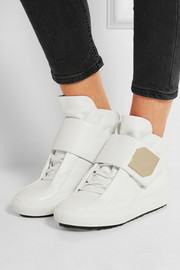 Magic gold-trimmed leather high-top sneakers