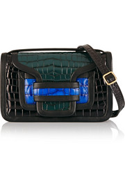 Alpha color-block croc-effect leather shoulder bag
