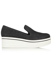 Stella McCartney Glittered canvas platform slip-on sneakers