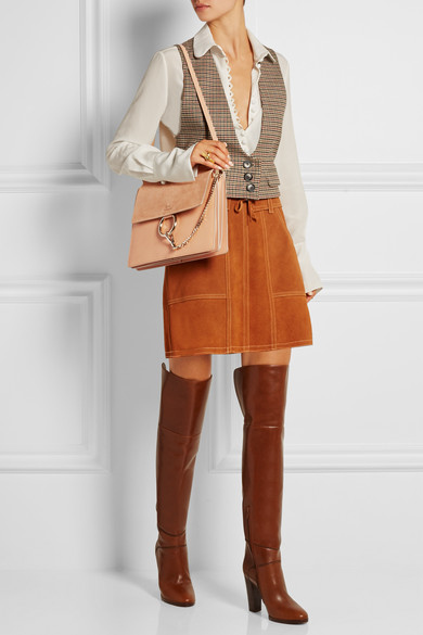 Chlo��   Faye medium leather and suede shoulder bag   NET-A-PORTER.COM