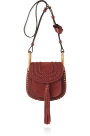 Hudson mini whipstitched suede shoulder bag