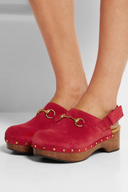 Horsebit-detailed suede clogs