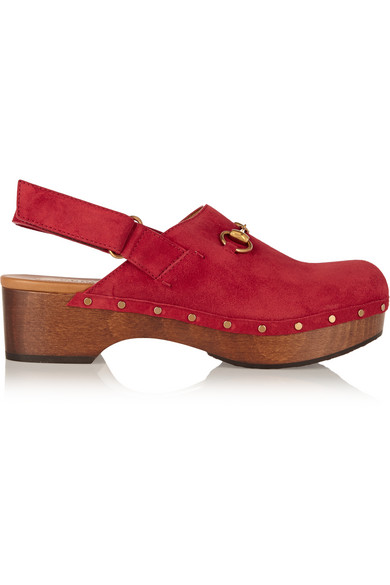 gucci female gucci horsebitdetailed suede clogs red
