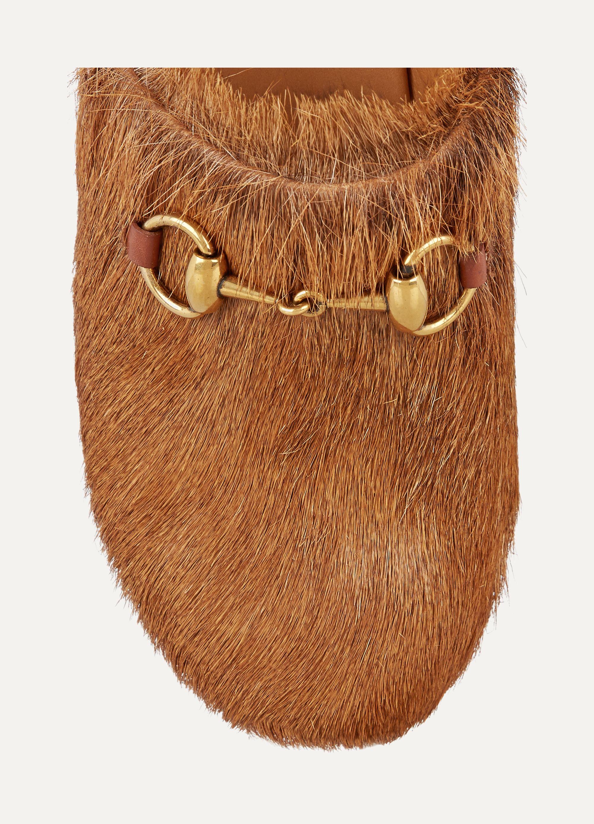 Gucci Amstel goat hair clogs