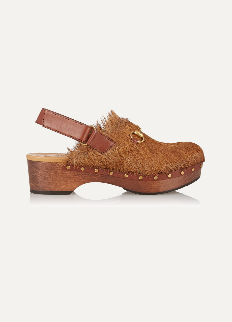 Gucci Amstel Goat Hair Clogs, Brown, Women's US Size: 4, Size: 34.5