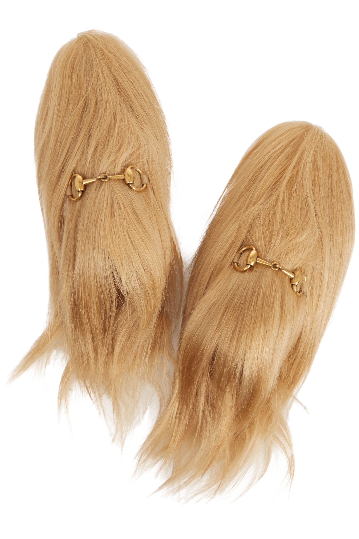 Beige Horsebit-detailed goat hair