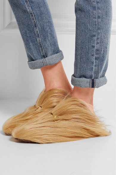 f0345ad2387 Horsebit-detailed goat hair slippers