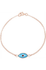 Little Oval Eye rose gold-plated enamel bracelet