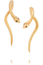 IAM by Ileana Makri Boa gold-plated diamond earrings