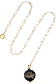 Gold-plated, diamond and enamel necklace