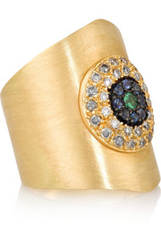 Eye Shield 18-karat gold multi-stone ring