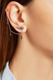 Chained Tears 18-karat rose gold multi-stone ear cuff