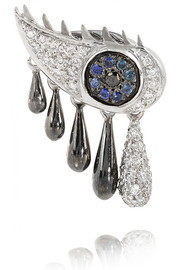 Crying Eye 18-karat white gold multi-stone earring