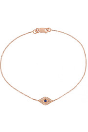 Wisdom 18-karat rose gold, diamond and sapphire bracelet
